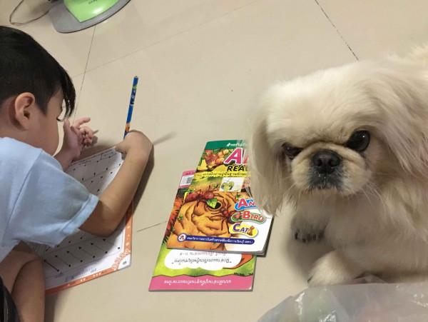 นู๋สอนน้องทำการบ้านอยู่ค่ะแม่