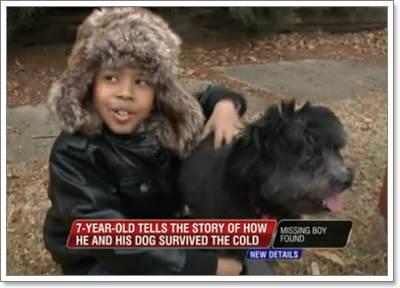 Dogilike.com :: ปลื้ม! เด็ก 7 ปี กอดสุนัขจนรอดชีวิตในอากาศหนาวนาน 14 ชั่วโมง