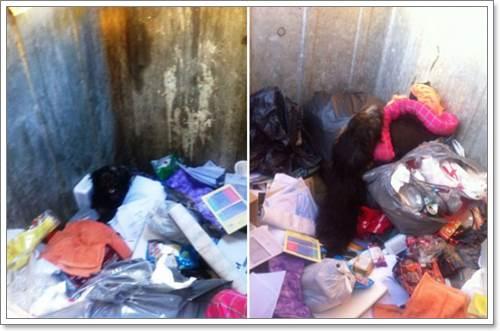 Dogilike.com :: หมดค่า! พบสุนัขน่าสงสารถูกทิ้งในถังขยะพร้อมเบาะนอน