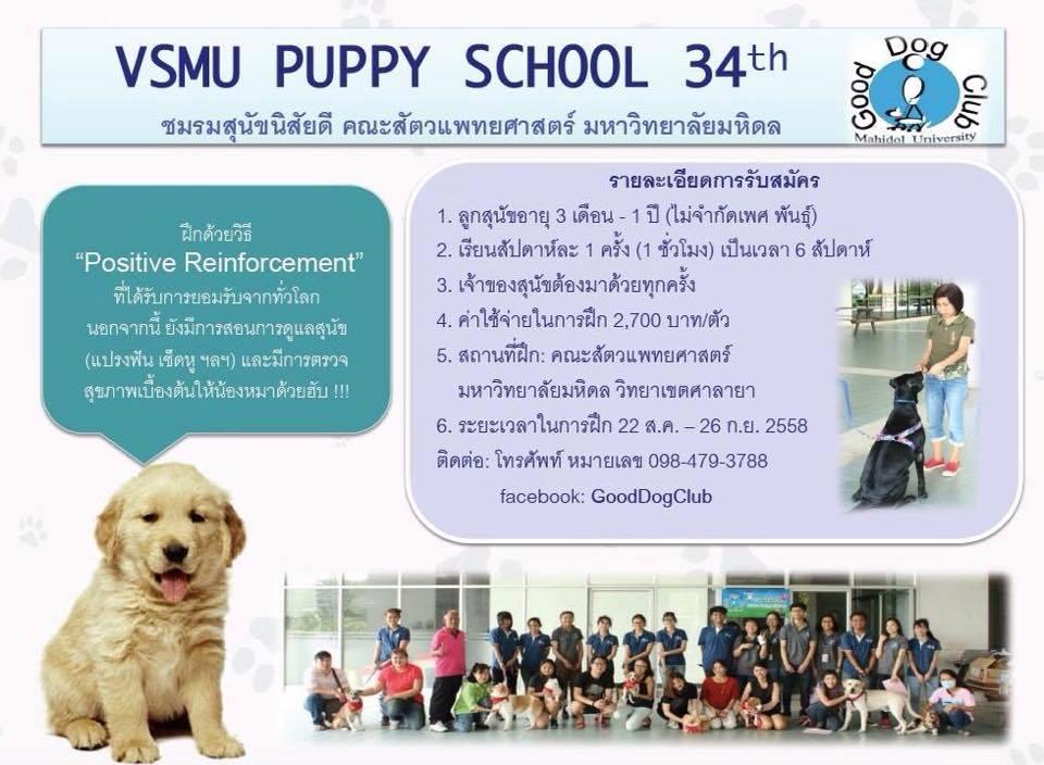 Dogilike.com :: ชมรมสุนัขนิสัยดี ม.มหิดล เปิดรับสมัครคอร์สฝึกลูกสุนัขครั้งที่ 34 จำนวนจำกัด !!