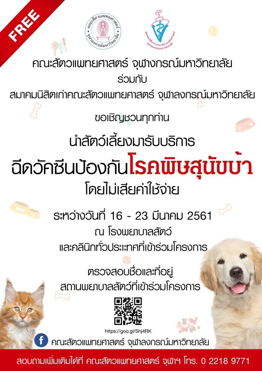 Dogilike.com :: จุฬาฯ เชิญชวนพาสัตว์เลี้ยงฉีดวัคซีนพิษสุนัขบ้าฟรี !