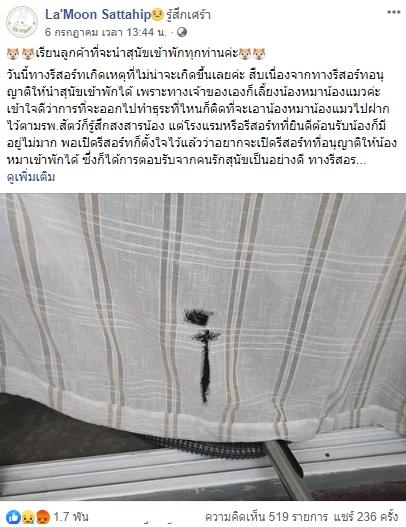 Dogilike.com :: แฉพฤติกรรมสุดแย่ ... ปล่อยหมาขับถ่ายใส่ห้องพัก ทำของเสียหาย ทิ้งกุญแจหนีไม่จ่ายค่าเสียหาย!!
