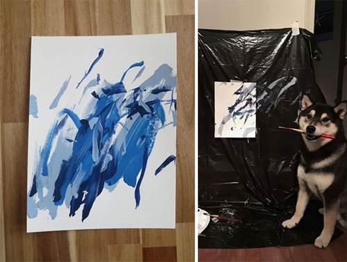Dogilike.com :: เจ้าของฝึกชิบะวาดภาพเผยผลงานชิ้นเอก ขายได้ภาพละ 1,200 บาท!