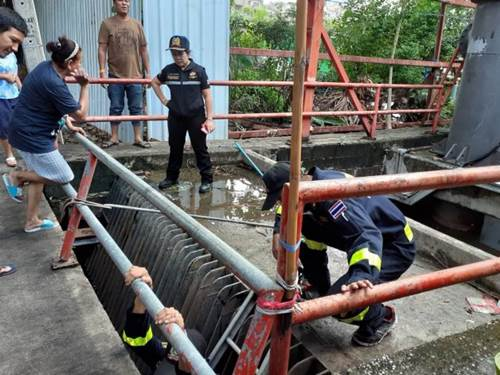 Dogilike.com :: ทีมดับเพลิงฮีโร! มุดท่อช่วยสุนัขแก่ตาบอด พลัดตกคลองระบายน้ำ