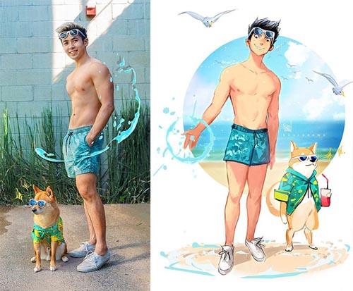 Dogilike.com :: เจ๋ง! ศิลปินหนุ่มเปลี่ยนรูปถ่ายตัวเองและตูบให้เป็นการ์ตูนสุดคิ้วท์
