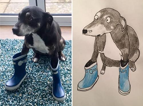 Dogilike.com :: หนุ่มอ่อนศิลปะแต่มีใจอยากช่วยสัตว์ เปิดรับวาดภาพนำเงินไปบริจาค!