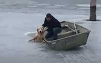 รอดหวิด! นาทีหนุ่มช่วยชีวิตโกลเด้นฯ ตกธารน้ำแข็งเย็นจัด