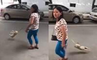 คนรักสุนัขฉุน! หญิงชาวจีนโมโหเจ้าตูบไม่ยอมเดิน ลากสายจูงเหวี่ยงจนตัวลอย