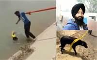 นับถือใจ! หนุ่มชาวซิกข์ยอมถอดผ้าโพกหัวช่วยชีวิตสุนัขตกน้ำ