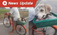 หนุ่มลูกจ้างโดนเบี้ยวค่าแรง ปั่นจักรยานกลับบ้านเกิดพร้อมตูบคู่ใจ!