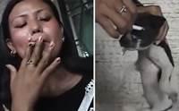 ตามล่าสาวใจเหี้ยมเอาบุหรี่จี้ตาลูกหมา คาดเหตุเกิดที่สิงคโปร์ !