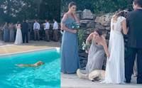 วิวาห์วุ่น! โกลเด้นฯอดใจไม่ไหวลงว่ายน้ำเล่น ก่อนเอาตัวเช็ดชุดเจ้าสาว